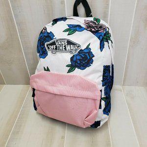 Vans NEW Floral Backpack White Pink
